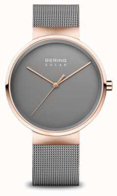 Bering Herenhorloge op zonne-energie rosé goud/grijs 14339-369