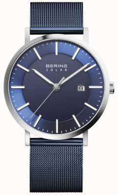 Bering Herenhorloge met blauwe wijzerplaat op zonne-energie 15439-307