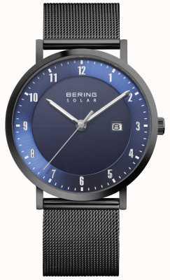 Bering Solar heren zwart mesh armband datum horloge 15439-327