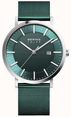 Bering Herenhorloge met groene wijzerplaat op zonne-energie 15439-808