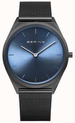 Bering Ultraslank zwart Milanees mesh-horloge voor heren 17039-227