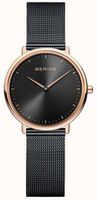 Bering Klassiek zwart mesh-horloge voor dames 15729-166