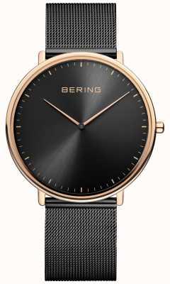 Bering Klassiek unisex horloge in zwart en roségoud 15739-166