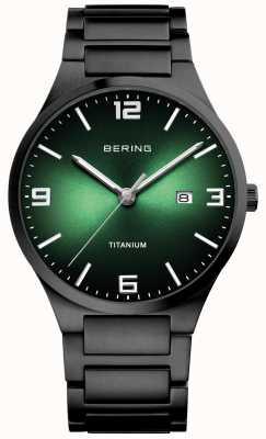 Bering Heren titanium horloge met groene wijzerplaat 15240-728
