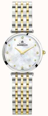 Michel Herbelin Epsilon   parelmoer wijzerplaat   tweekleurige stalen armband 17116/BT89
