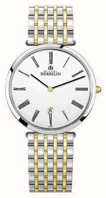 Michel Herbelin Epsilon | witte wijzerplaat | tweekleurige stalen armband 19416/BT01N