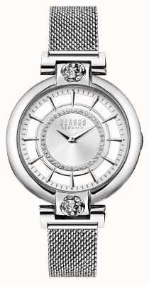 Versus Versace Zilverkleurige roestvrijstalen armband met meer mesh voor dames VSP1H0521