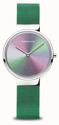 Bering Verjaardag | vrouwen | gepolijst zilver | groene mesh armband 10X31-ANNIVERSARY1