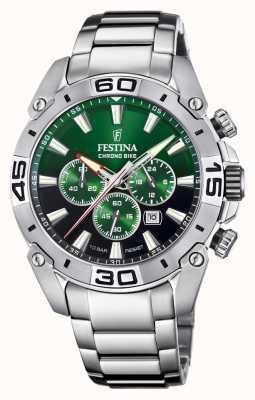 Festina Chronobike 2021 | groene wijzerplaat | roestvrij stalen armband F20543/3