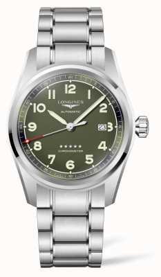 Longines Spirit mat groene wijzerplaat roestvrij stalen armband L38114036