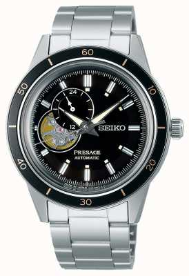Seiko Presage stijl jaren '60 zwarte wijzerplaat horloge SSA425J1