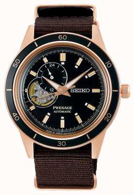 Seiko Presage stijl jaren '60 bruine nylon band SSA426J1