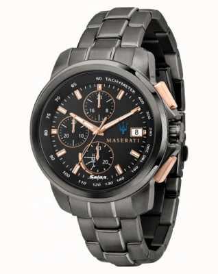 Maserati Successo solar herenhorloge in zwart en roségoud R8873645001