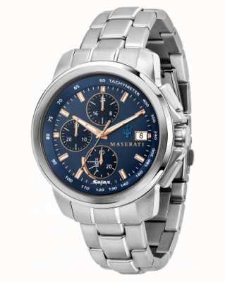 Maserati Successo solar herenhorloge met blauwe wijzerplaat R8873645004