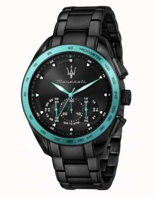 Maserati Traguardo aqua edition zwart verguld horloge R8873644002