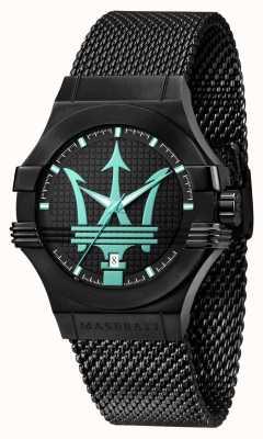 Maserati Potenza aqua edition zwarte mesh armband R8853144002