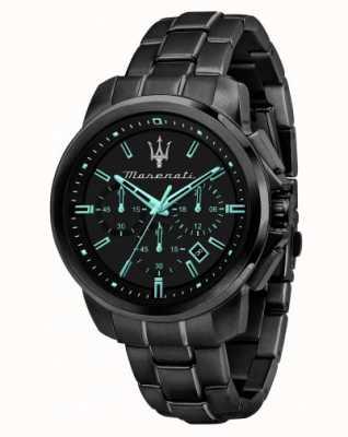 Maserati Successo aqua edition zwart verguld horloge R8873644003