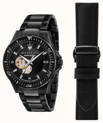 Maserati Sfida diamanten zwart verguld horloge R8823140005