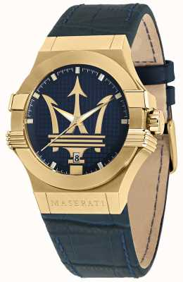 Maserati Potenza heren blauw leren horlogebandje R8851108035