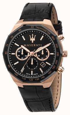 Maserati Stile chronograaf heren zwart lederen band R8871642001