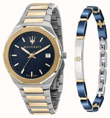 Maserati Stile 3h heren cadeauset horloge en armband R8853142008