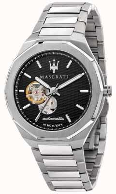 Maserati Herenstijl automatisch | roestvrijstalen armband | zwarte wijzerplaat R8823142002