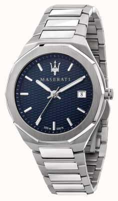 Maserati Heren stile 3 uur data blauwe wijzerplaat horloge R8853142006
