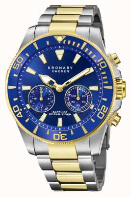 Kronaby Duiker collectie | bluetooth | blauwe wijzerplaat | tweekleurige stalen armband S3779/1
