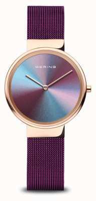 Bering Dames | gepolijst roségoud | paarse mesh armband 10X31-ANNIVERSARY3