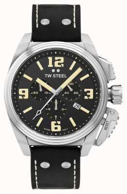 TW Steel Canteen chronograaf zwart lederen band TW1011