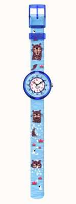 Flik Flak Als geen otter | blauwe gerecyclede hondenriem | witte wijzerplaat FBNP172