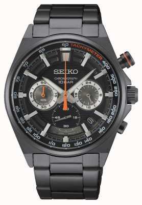 Seiko Chronograaf zwarte roestvrijstalen armband SSB399P1