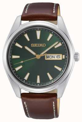 Seiko Horloge met groene wijzerplaat en bruine leren band SUR449P1