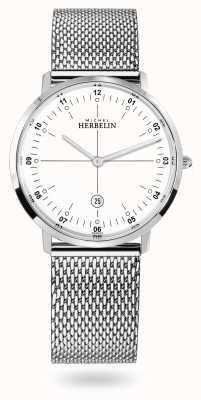 Michel Herbelin Stad roestvrijstalen milanese mesh armband witte wijzerplaat 19515/12B