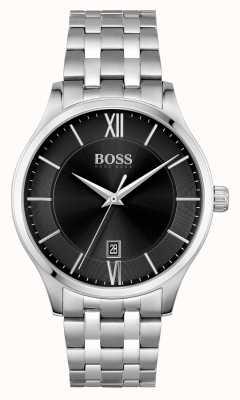 BOSS | elite zaken | roestvrijstalen armband | zwarte datum wijzerplaat | 1513896
