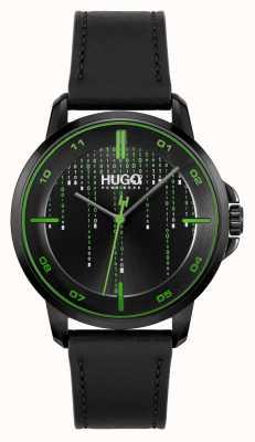 HUGO #focus matrix casual | zwarte wijzerplaat | zwarte leren band 1530205