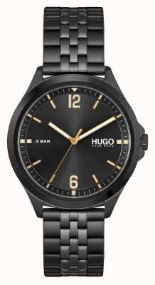 HUGO #pakbedrijf | zwarte wijzerplaat | zwarte pvd stalen armband 1530218