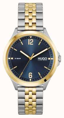 HUGO #pakbedrijf | blauwe wijzerplaat | tweekleurige stalen armband 1530219