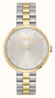 HUGO #verpletteren | zilveren wijzerplaat | tweekleurige stalen armband 1540101