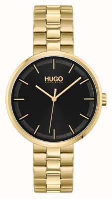HUGO #verpletteren | zwarte wijzerplaat | gouden pvd stalen armband 1540102