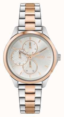 HUGO #onverschrokken multi casual | zilveren wijzerplaat | tweekleurige stalen armband 1540097