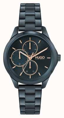 HUGO #onverschrokken multi casual | blauwe wijzerplaat | blauwe ip stalen armband 1540098
