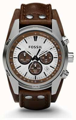 Fossil Gents sportieve chronograaf bruine lederen band horloge CH2565