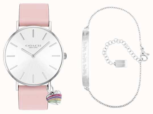 Coach Perry cadeauset roze horloge met leren band 14000074