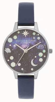 Olivia Burton Celestial planet blauwe leren band OB16GD82