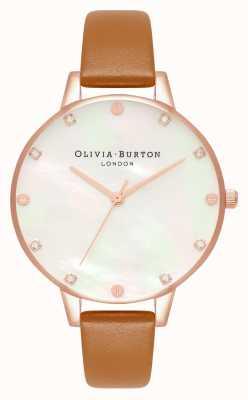 Olivia Burton Demi parelmoer wijzerplaat tan & rose gouden horloge OB16SE18