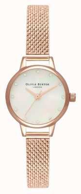 Olivia Burton Mini witte parelmoer wijzerplaat, fonkelende markeringen en roségouden bouclé mesh OB16MN05