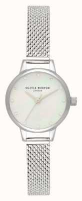 Olivia Burton Mini witte parelmoer wijzerplaat, fonkelende markeringen & zilveren bouclé mesh horloge OB16MN04
