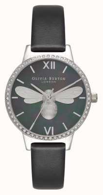 Olivia Burton Lucky bee midi sparkle wijzerplaat zwart en zilver horloge OB16BB13