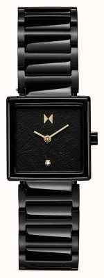 MVMT Frost vierkante kast zwart vergulde stalen armband 28000145-D